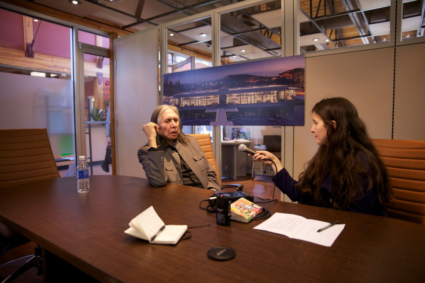 Allison interviewing former chief of Tsleil-Waututh, Leonard George