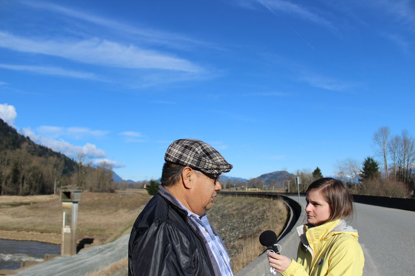 Emma talks with former Sumas chief Lester Ned near Abbotsford