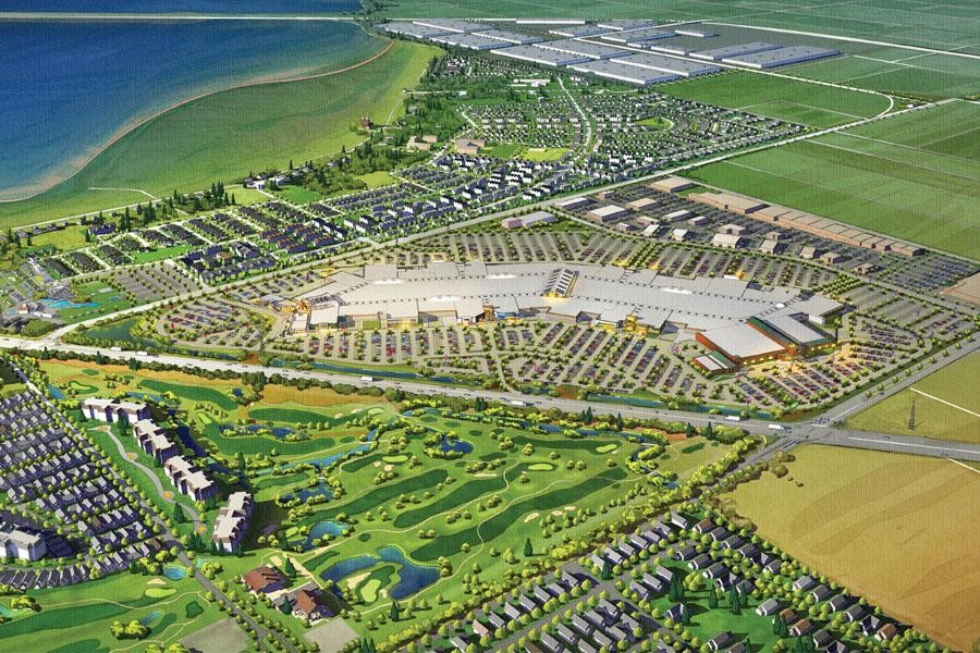 The new mall will incorporate elements of Coast Salish design and  is intended to become a destination retail centre. It will open in spring 2016. Photo credit: Ivanhoe Cambridge